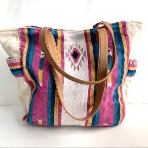 Southwestern Print Large Canvas Tote Bag Boho
